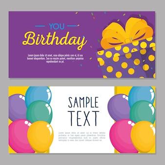 Tarjeta de feliz cumpleaños con cupcake y giftbox