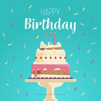 Tarjeta de feliz cumpleaños con deliciosa tarta