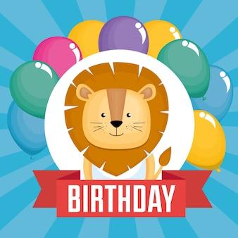 Tarjeta de feliz cumpleaños con lindo león