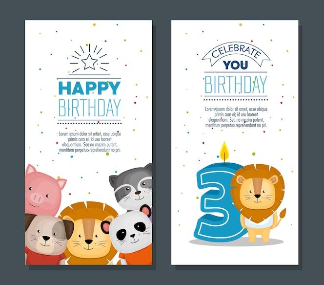 Tarjeta de feliz cumpleaños con lindos animales
