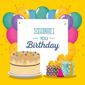 Tarjeta de feliz cumpleaños con torta dulce y regalos