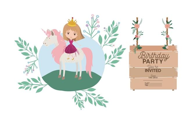 Tarjeta de fiesta de cumpleaños invitada con unicornio y princesa