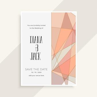 Tarjeta de invitación de boda de estilo geométrico abstracto moderno