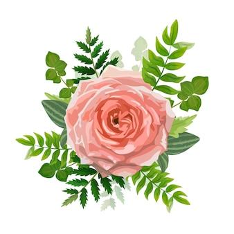 Tarjeta de invitación de boda. encantadora plantilla. tarjeta con flor rosa, verde bosque