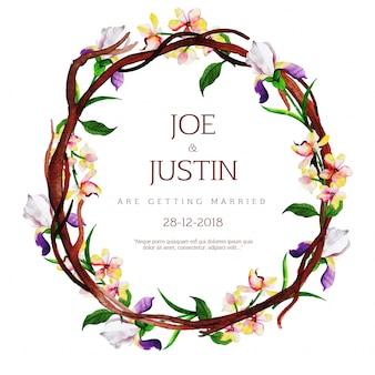 Tarjeta de invitación de boda floral acuarela hermosa