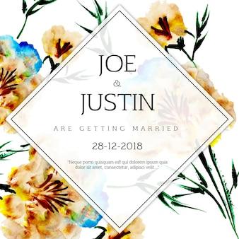 Tarjeta de invitación floral acuarela de la boda