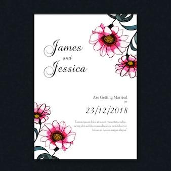 Tarjeta de invitación floral de la boda de la vendimia de la acuarela