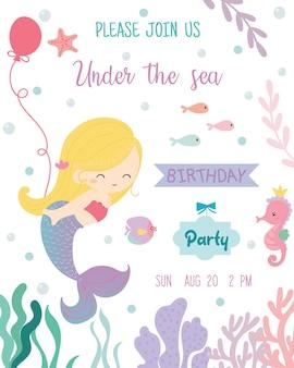 Tarjeta de invitación linda de la fiesta de cumpleaños del tema de la sirena.