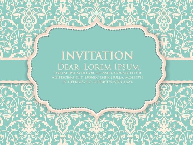 Tarjeta de invitación y anuncio de boda con ilustraciones de fondo vintage. elegante fondo adornado del damasco. elegante ornamento abstracto floral. plantilla de diseño.