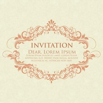 Tarjeta de la invitación y del aviso de la boda con las ilustraciones del fondo del vintage. fondo adornado elegante del damasco. ornamento abstracto floral elegante. plantilla de diseño.