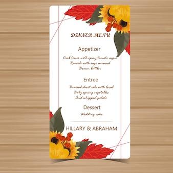 Tarjeta de menú de boda con marco floral de otoño