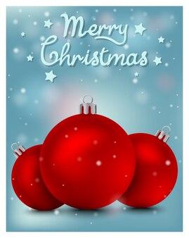 Tarjeta de navidad con bola roja