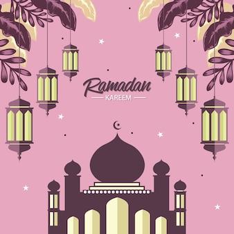 Tarjeta de ramadán con lámpara y mezquita