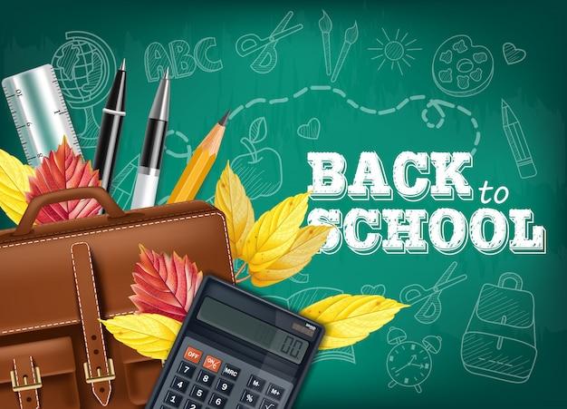 Tarjeta de regreso a la escuela con herramientas de dibujo
