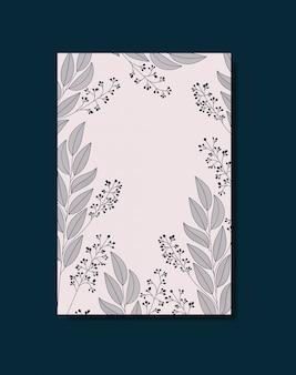 Tarjeta con decoración floral monocromática.