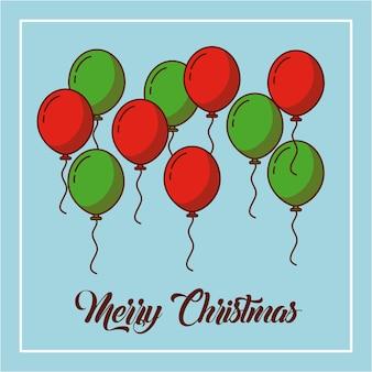 Tarjeta de decoración de globos de feliz navidad verde y rojo