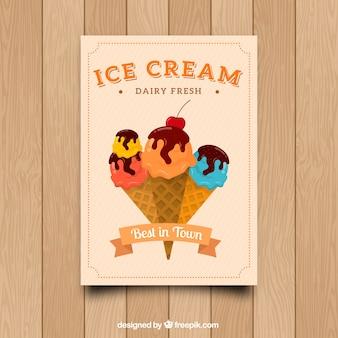 Tarjeta decorativa con conos de helados