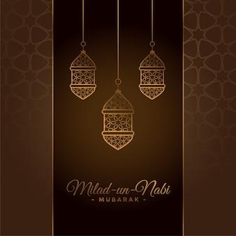 Tarjeta decorativa del festival milad un nabi