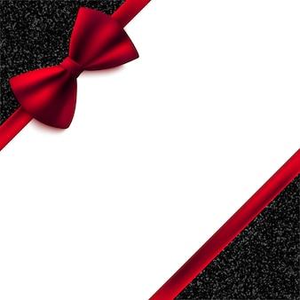 Tarjeta decorativa de invitación con lazo rojo y brillo brillante