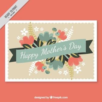Tarjeta decorativa vintage del día de la madre con flores