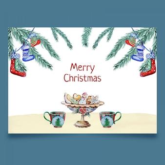 Tarjeta con decotacion navideña