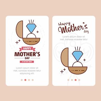 Tarjeta del día de la madre con el logo de anillo y el vector de tema rosa