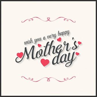 Tarjeta del día de la madre con ornamentos y texto
