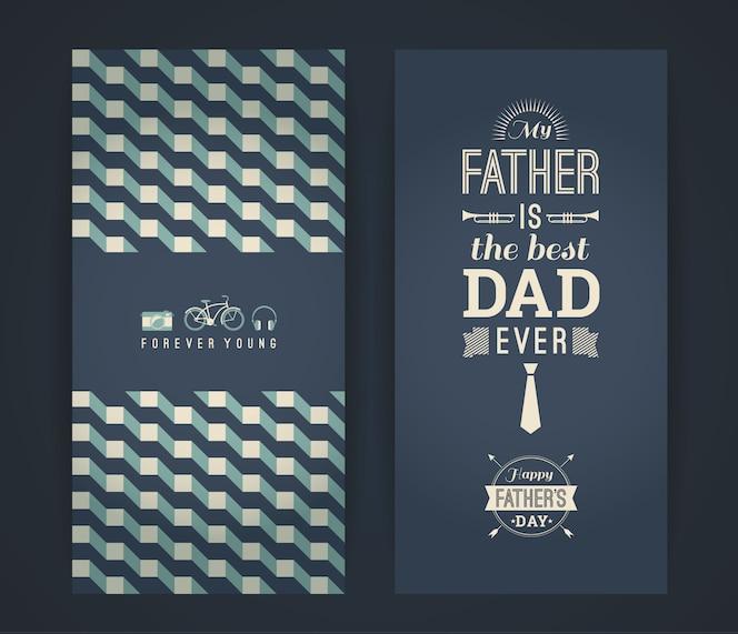 Tarjeta del día de padre feliz en estilo retro.