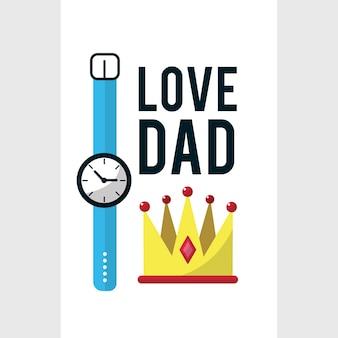 Tarjeta del día del padre con la decoración del reloj
