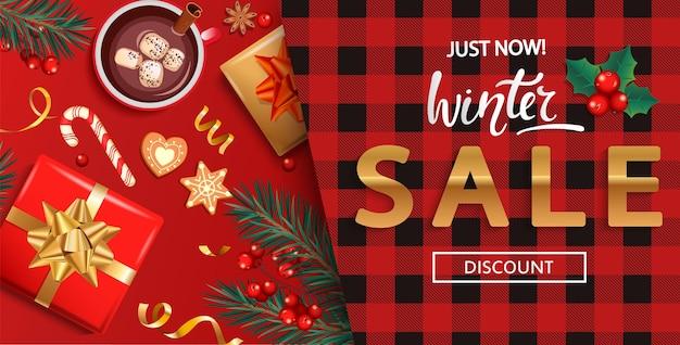 Tarjeta de descuento de venta de invierno para la temporada de compras.