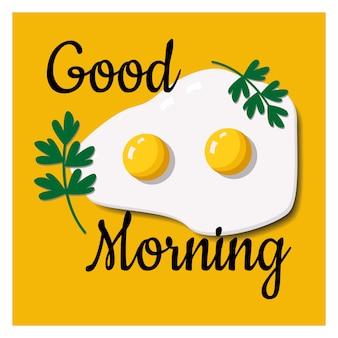 Tarjeta con un deseo de buenos días con huevos revueltos.