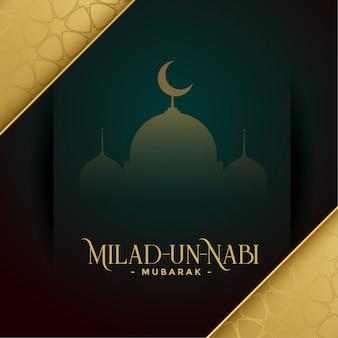 Tarjeta de deseos dorados milad un nabi mubarak