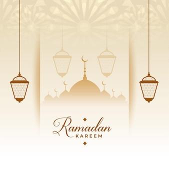 Tarjeta de deseos de estilo islámico de eid ramadan kareem
