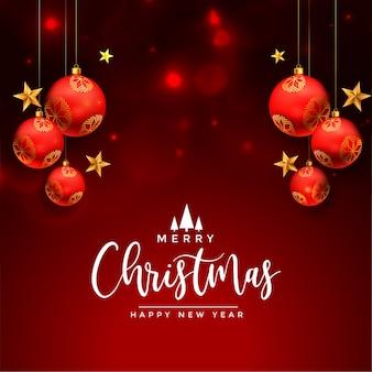 Tarjeta de deseos de felicitación navideña con bolas rojas realistas