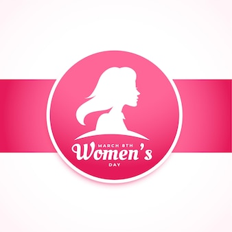 Tarjeta de deseos de felicitación rosa elegante del día internacional de la mujer