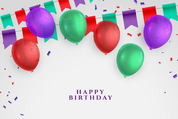 Tarjeta de deseos de feliz cumpleaños con globos realistas