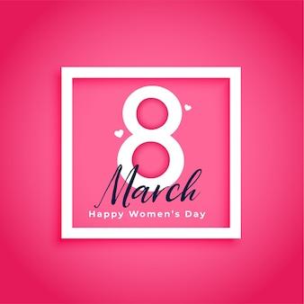 Tarjeta de deseos de feliz día de la mujer en rosa