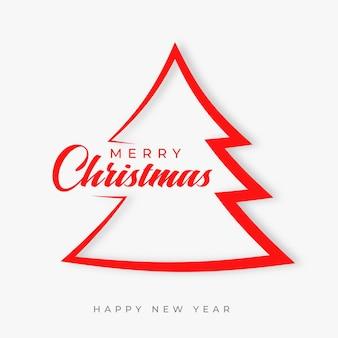 Tarjeta de deseos de feliz navidad con árbol en estilo papercut