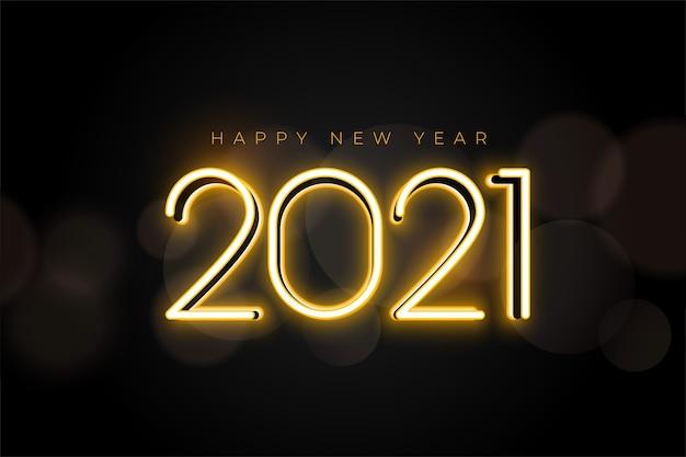 Tarjeta de deseos de neón dorado de año nuevo 2021