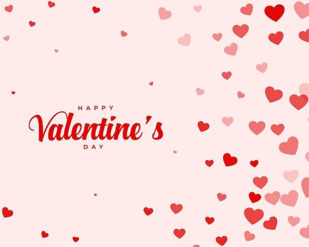 Tarjeta de deseos de san valentín con corazones dispersos