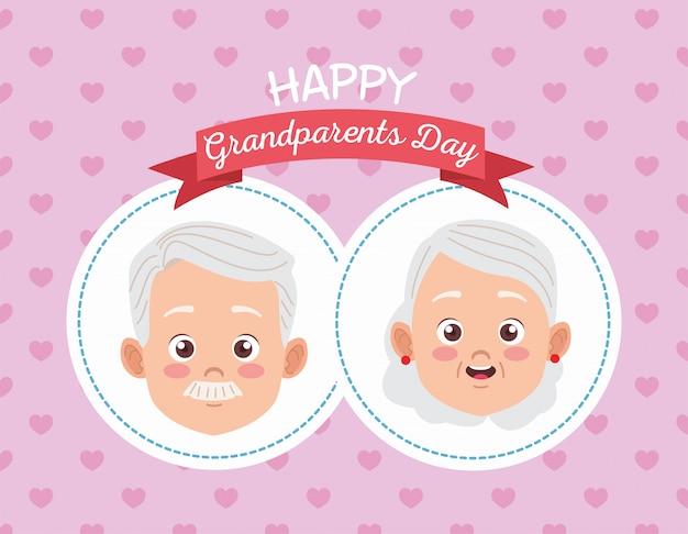 Tarjeta del día de los abuelos felices con pareja de ancianos
