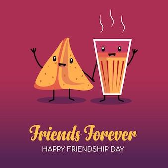 Tarjeta del día de la amistad con chai indio y samosa