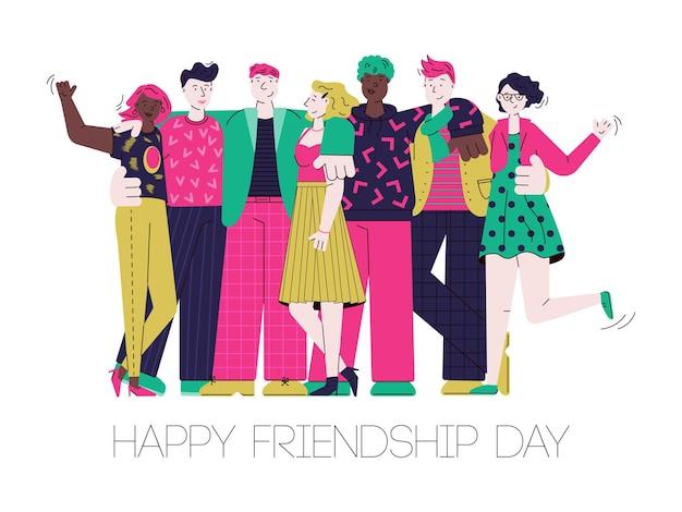 Tarjeta del día de la amistad feliz con abrazos de grupo de amigos de dibujos animados