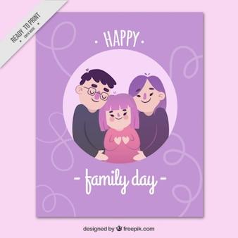 Tarjeta del día de la familia morada en diseño plano