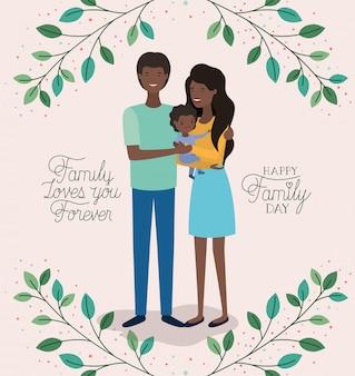 Tarjeta del día de la familia con padres negros y corona de hojas de hijo