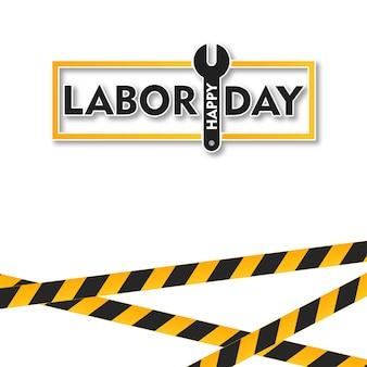 Tarjeta del día de happy labors con vector de tipografía y fondo blanco