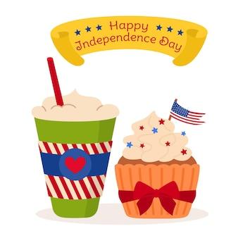 Tarjeta del día de la independencia de estados unidos, taza de café para llevar y pasteles cinta de la bandera americana