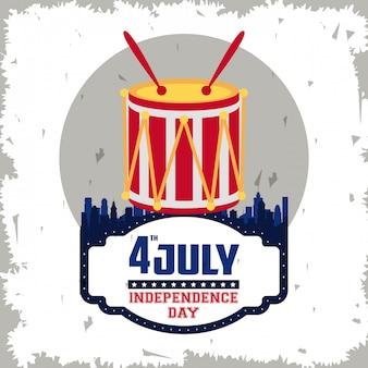 Tarjeta del día de la independencia de estados unidos
