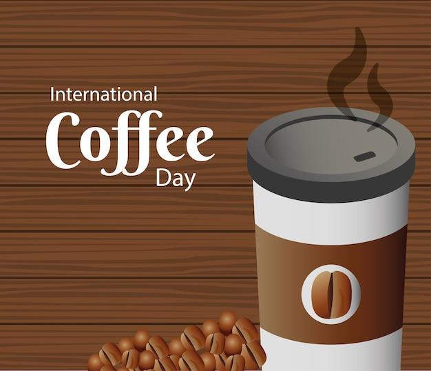 Tarjeta del día internacional del café con ilustración de envases de plástico y granos