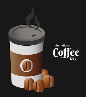 Tarjeta del día internacional del café con recipiente de plástico y frijoles, diseño de ilustraciones vectoriales